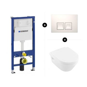 Geberit UP100 toiletset - inclusief bedieningsplaat & Villeroy & Boch Architectura hangend toilet diepspoel Directflush met toiletzitting met softclose en quickrelease