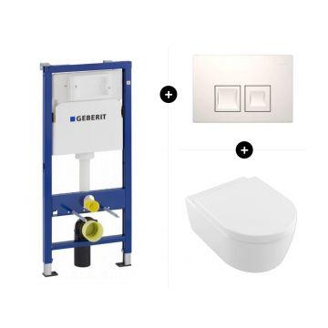 Geberit UP100 toiletset - inclusief bedieningsplaat & Villeroy & Boch Avento hangend toilet diepspoel CeramicPlus Directflush inclusief toiletzitting met softclose en quickrelease