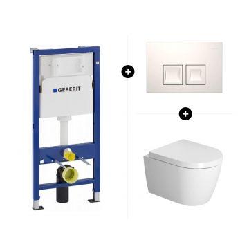 Geberit UP100 toiletset - inclusief bedieningsplaat & Duravit Me by Starck hangend toilet compact met softclose zitting