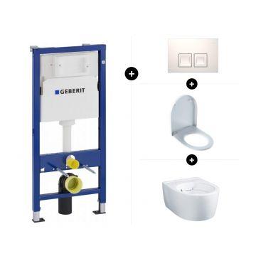 Geberit UP100 toiletset - inclusief bedieningsplaat & Geberit iCon wandcloset verkort 49 cm rimfree met toiletzitting met deksel topfix-softclose