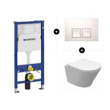 Geberit UP100 toiletset - inclusief bedieningsplaat & Wiesbaden Vesta-Junior hangend toilet compact Rimless inclusief zitting met softclose en quickrelease