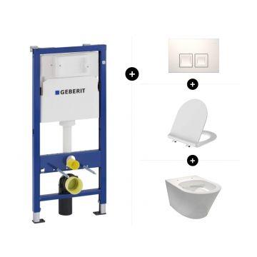 Geberit UP100 toiletset - inclusief bedieningsplaat & Sub 104 hangend toilet spoelrandloos vuilafstotend met toiletbril met deksel SlimSeat en softclose en quickrelease