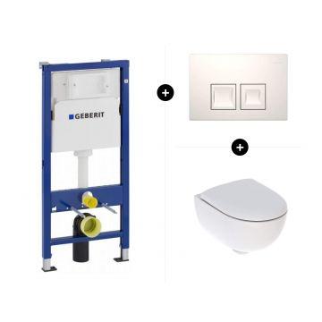 Geberit UP100 toiletset - inclusief bedieningsplaat & Geberit Renova Compact CombiPack Rimfree met Topfix Softclose Quickrelease-zitting