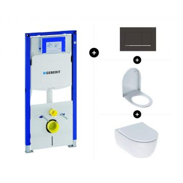Geberit UP320 toiletset - inclusief Geberit Sigma bedieningsplaat & Geberit iCon toiletpot rimfree met toiletzitting