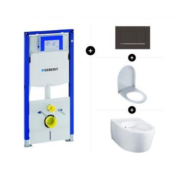 Geberit UP320 toiletset - inclusief Geberit Sigma bedieningsplaat & Geberit iCon wandcloset verkort met closetzitting topfix-softclose
